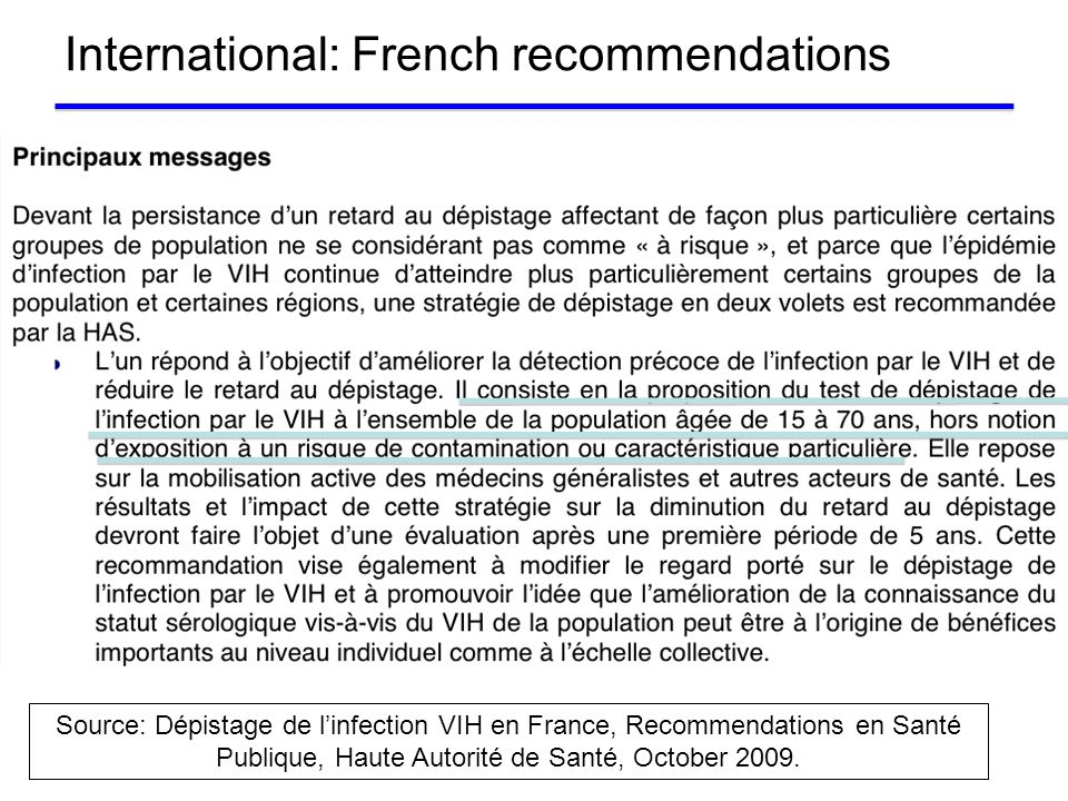 International: French recommendations