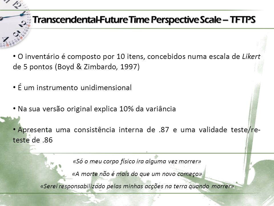 Transcendental-Future Time Perspective Scale – TFTPS