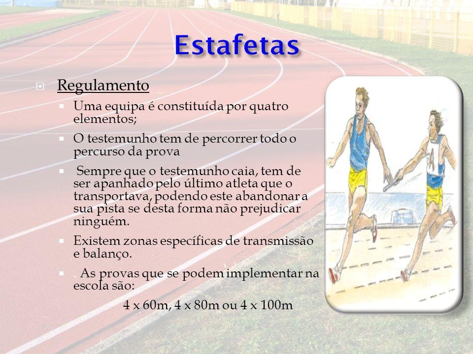 Estafetas Regulamento Uma equipa é constituída por quatro elementos;