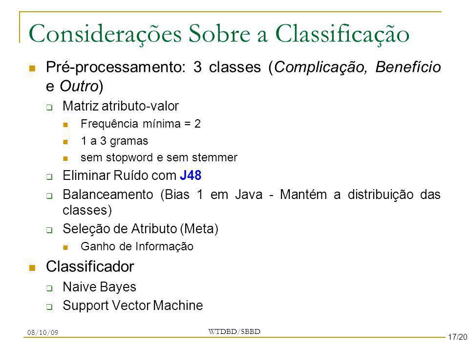 Considerações Sobre a Classificação