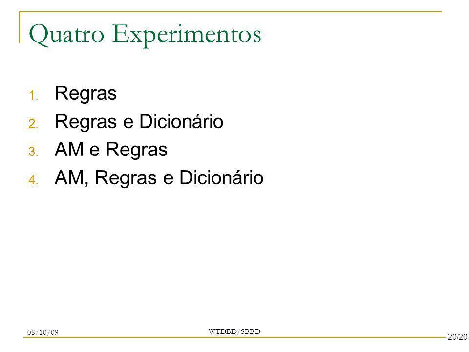 Quatro Experimentos Regras Regras e Dicionário AM e Regras