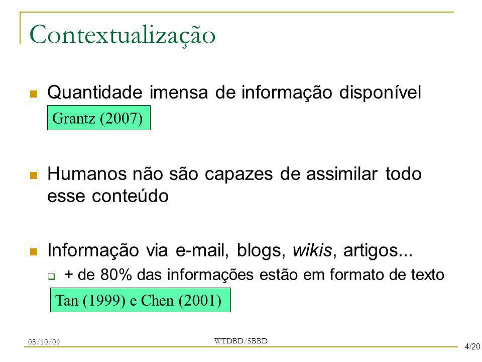 Contextualização Quantidade imensa de informação disponível