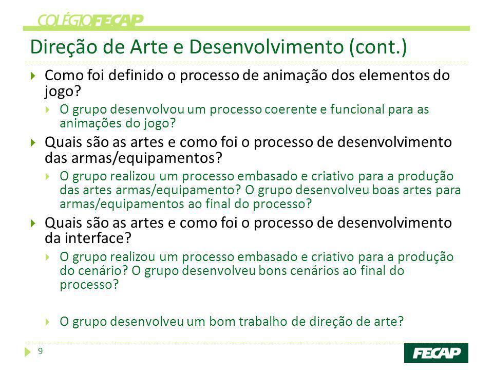 Direção de Arte e Desenvolvimento (cont.)