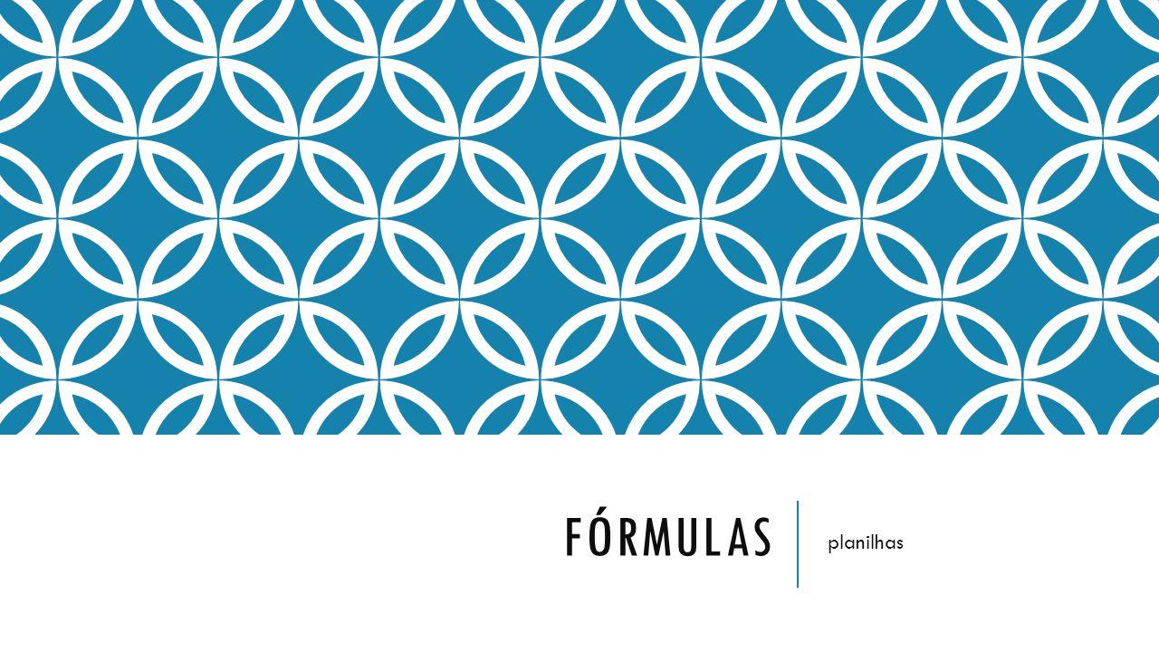 fórmulas planilhas
