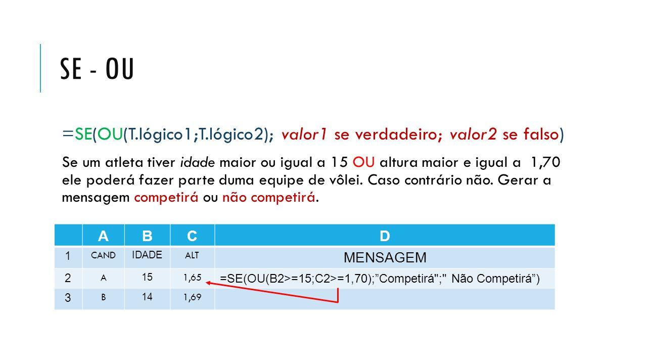 Se - Ou =SE(OU(T.lógico1;T.lógico2); valor1 se verdadeiro; valor2 se falso)