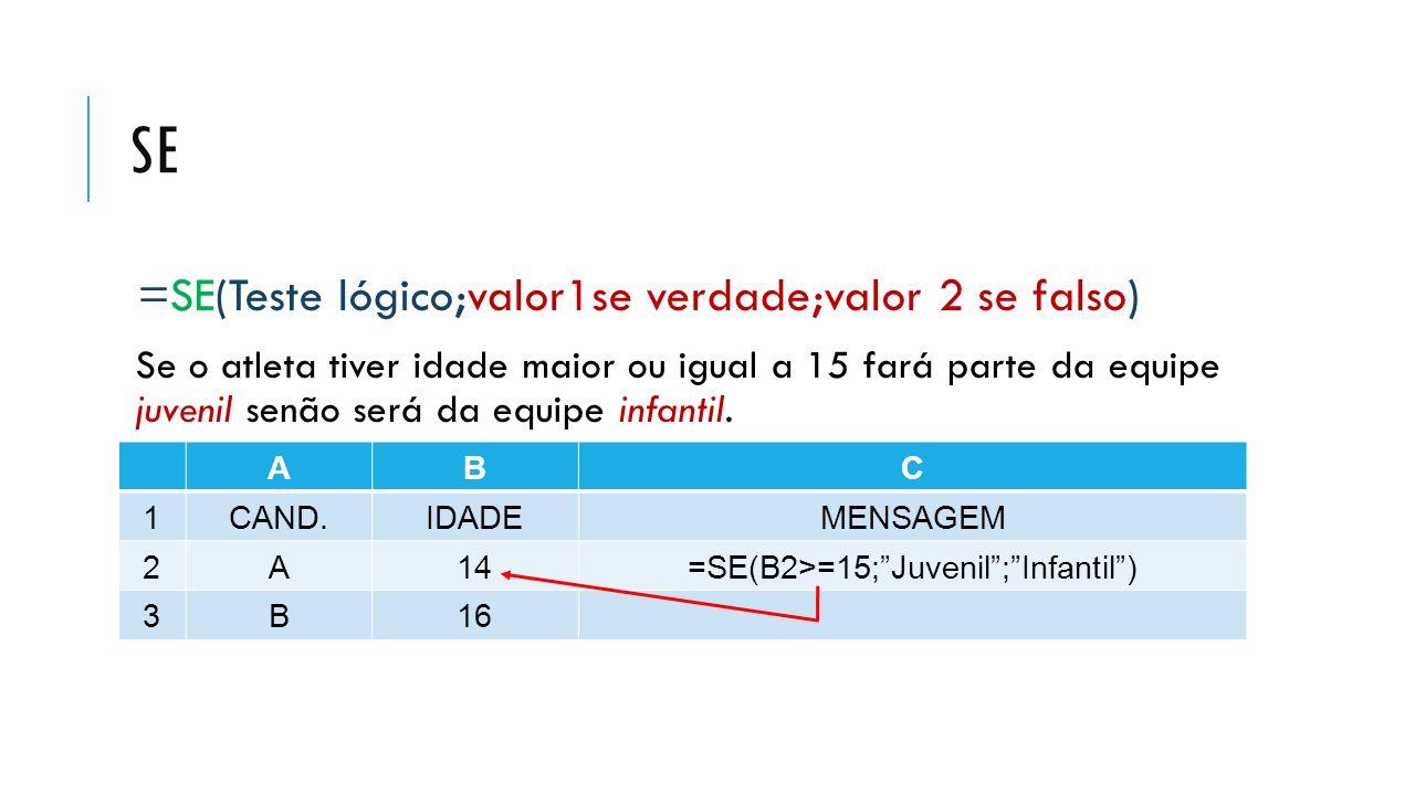 =SE(B2>=15; Juvenil ; Infantil )