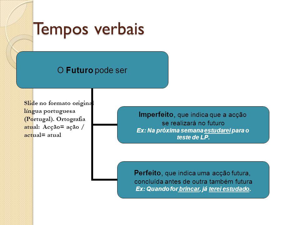 Tempos verbais Slide no formato original língua portuguesa (Portugal).