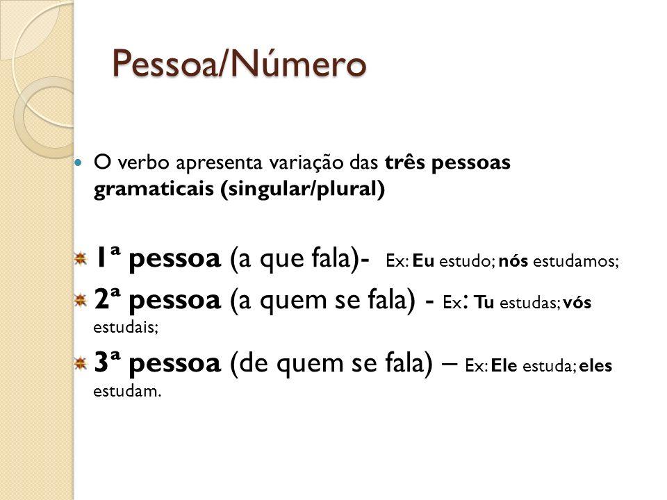 Pessoa/Número 1ª pessoa (a que fala)- Ex: Eu estudo; nós estudamos;
