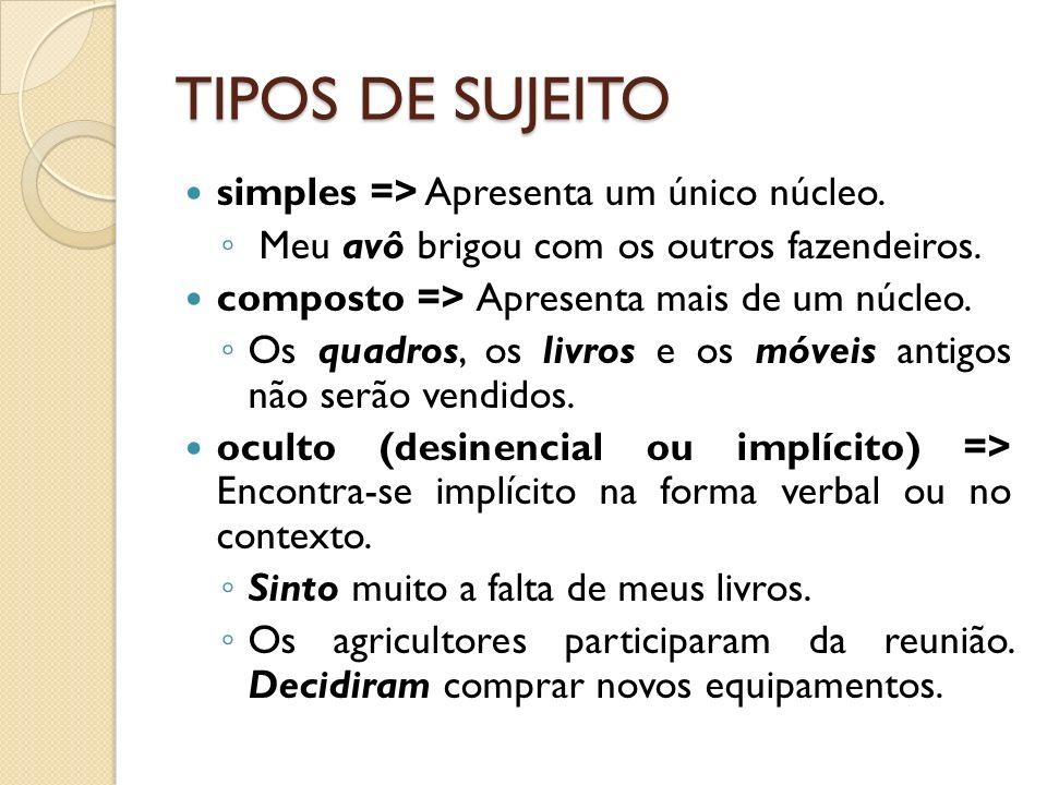 TIPOS DE SUJEITO simples => Apresenta um único núcleo.