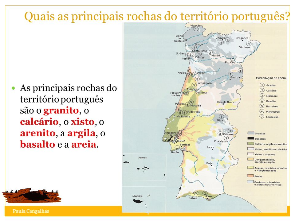 Quais as principais rochas do território português