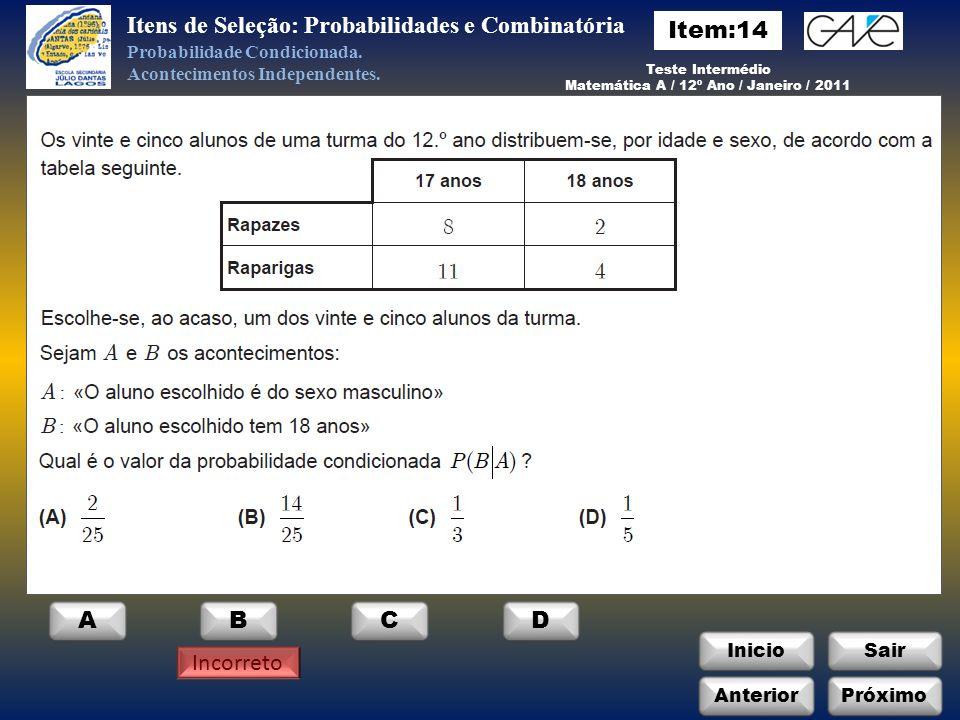Matemática A / 12º Ano / Janeiro / 2011