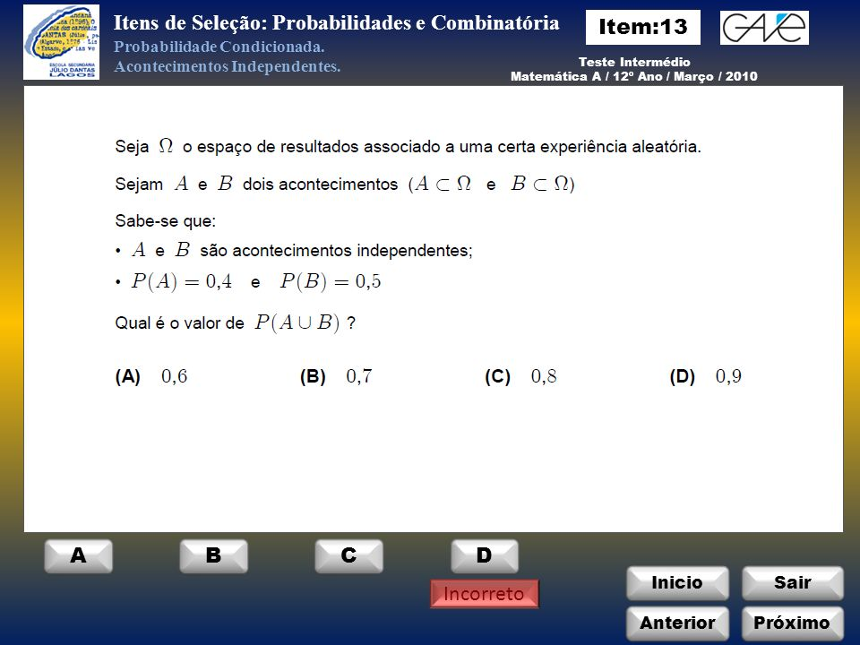 Matemática A / 12º Ano / Março / 2010