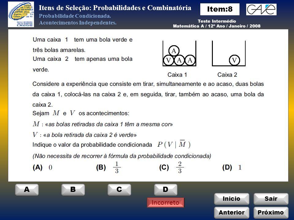 Matemática A / 12º Ano / Janeiro / 2008