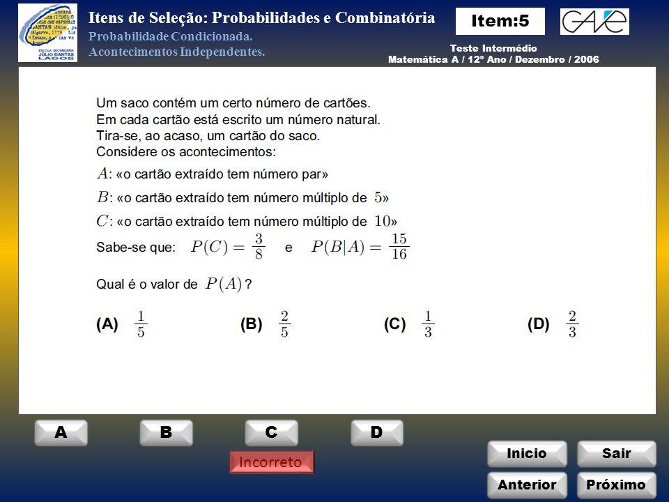 Matemática A / 12º Ano / Dezembro / 2006