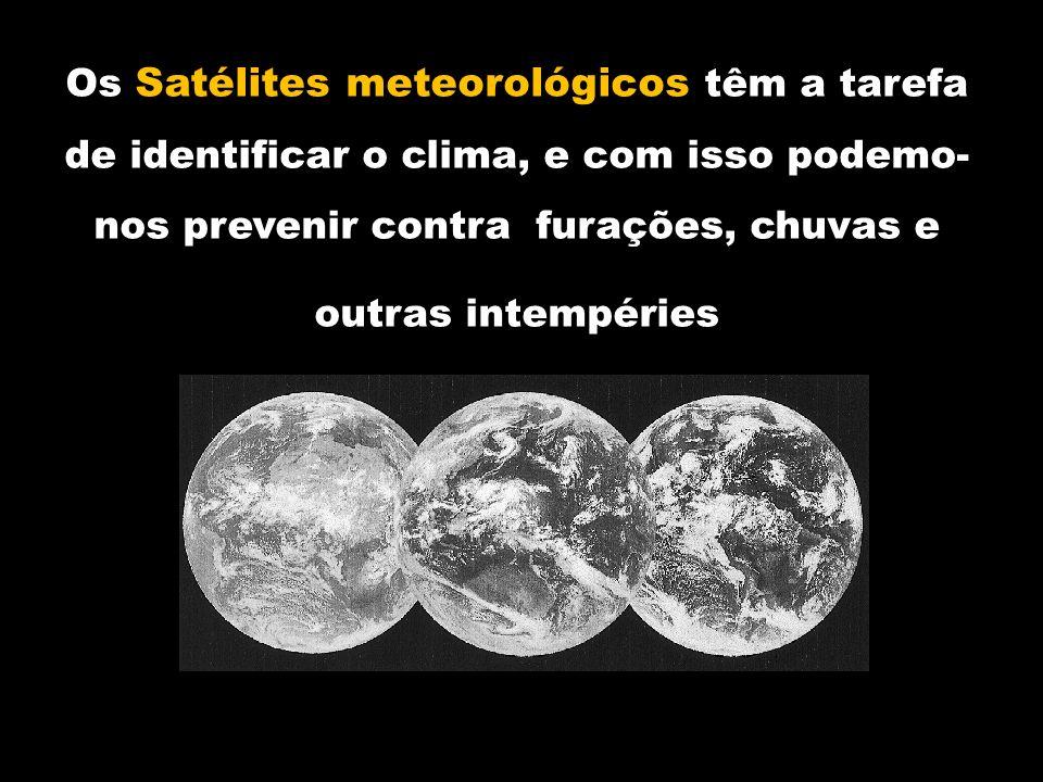 Os Satélites meteorológicos têm a tarefa de identificar o clima, e com isso podemo-nos prevenir contra furações, chuvas e outras intempéries