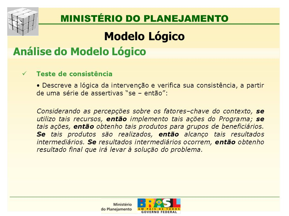 Modelo Lógico Análise do Modelo Lógico Teste de consistência