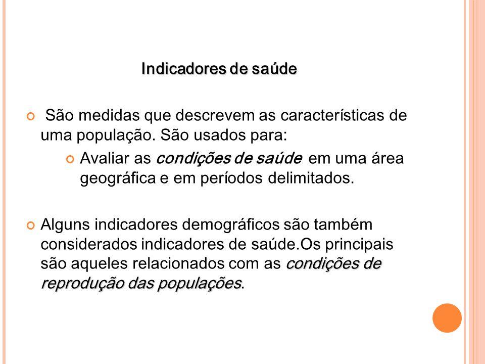 Indicadores de saúde São medidas que descrevem as características de uma população. São usados para:
