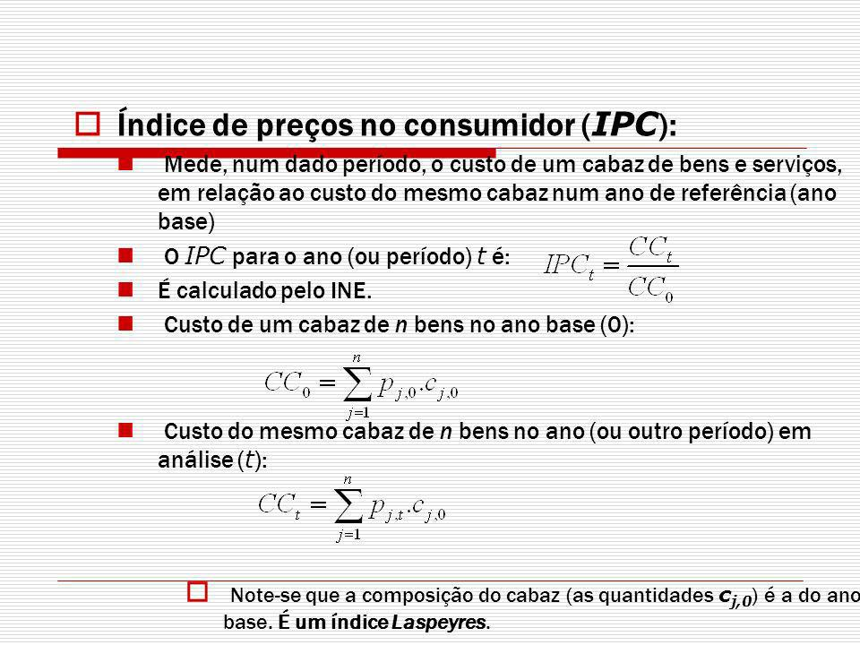 Índice de preços no consumidor (IPC):