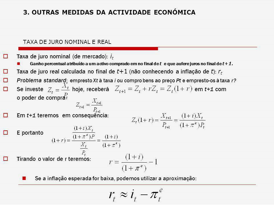 3. OUTRAS MEDIDAS DA ACTIVIDADE ECONÓMICA TAXA DE JURO NOMINAL E REAL