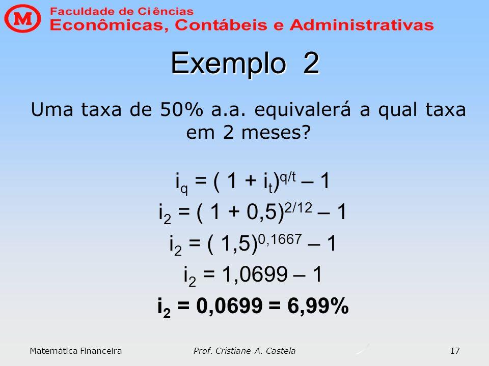 Exemplo 2 iq = ( 1 + it)q/t – 1 i2 = ( 1 + 0,5)2/12 – 1