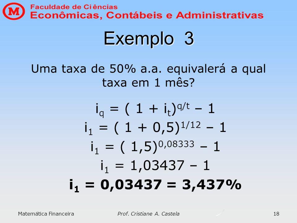 Exemplo 3 iq = ( 1 + it)q/t – 1 i1 = ( 1 + 0,5)1/12 – 1