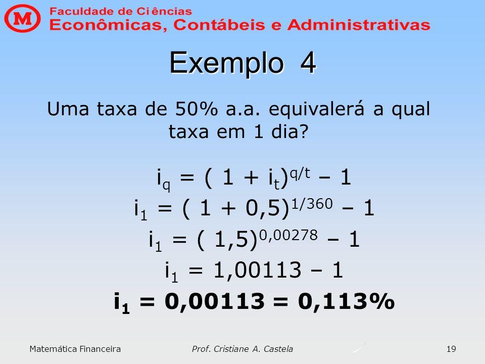 Exemplo 4 iq = ( 1 + it)q/t – 1 i1 = ( 1 + 0,5)1/360 – 1
