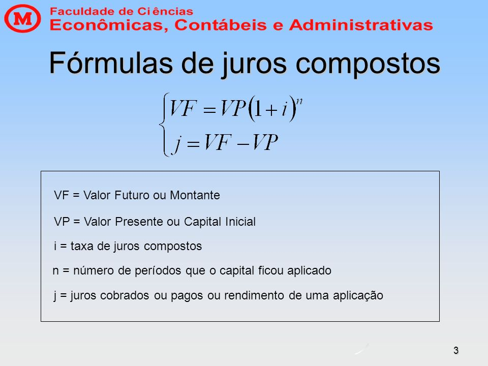 Fórmulas de juros compostos