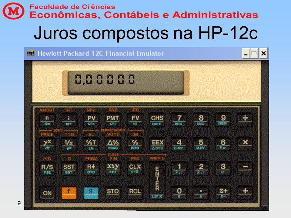 Juros compostos na HP-12c