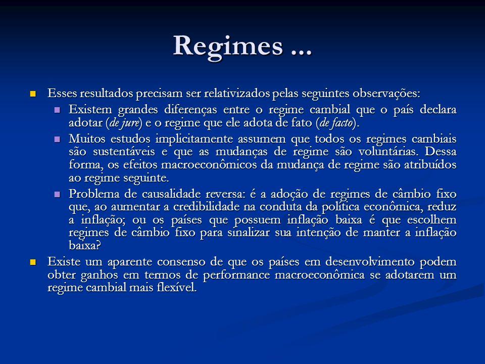 Regimes ... Esses resultados precisam ser relativizados pelas seguintes observações: