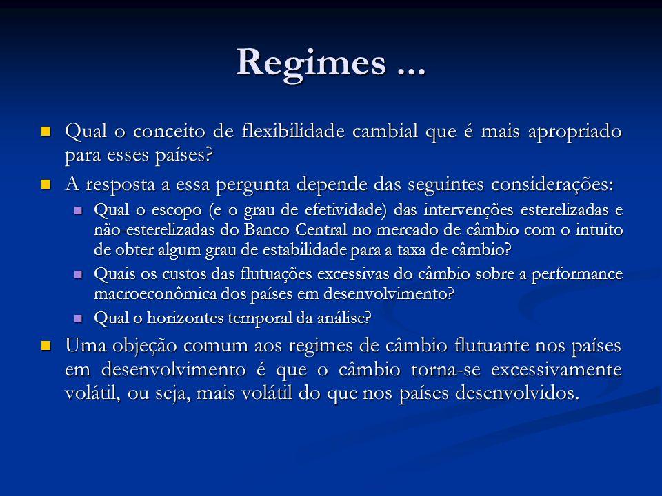 Regimes ... Qual o conceito de flexibilidade cambial que é mais apropriado para esses países