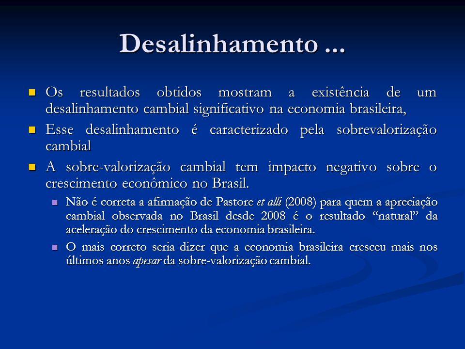 Desalinhamento ... Os resultados obtidos mostram a existência de um desalinhamento cambial significativo na economia brasileira,
