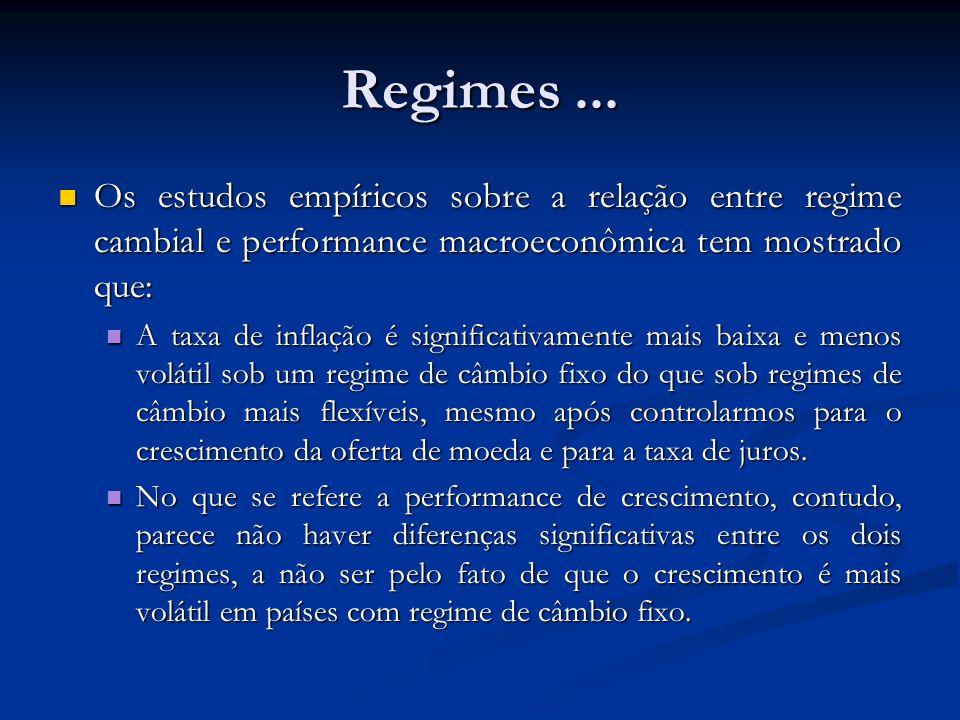 Regimes ... Os estudos empíricos sobre a relação entre regime cambial e performance macroeconômica tem mostrado que: