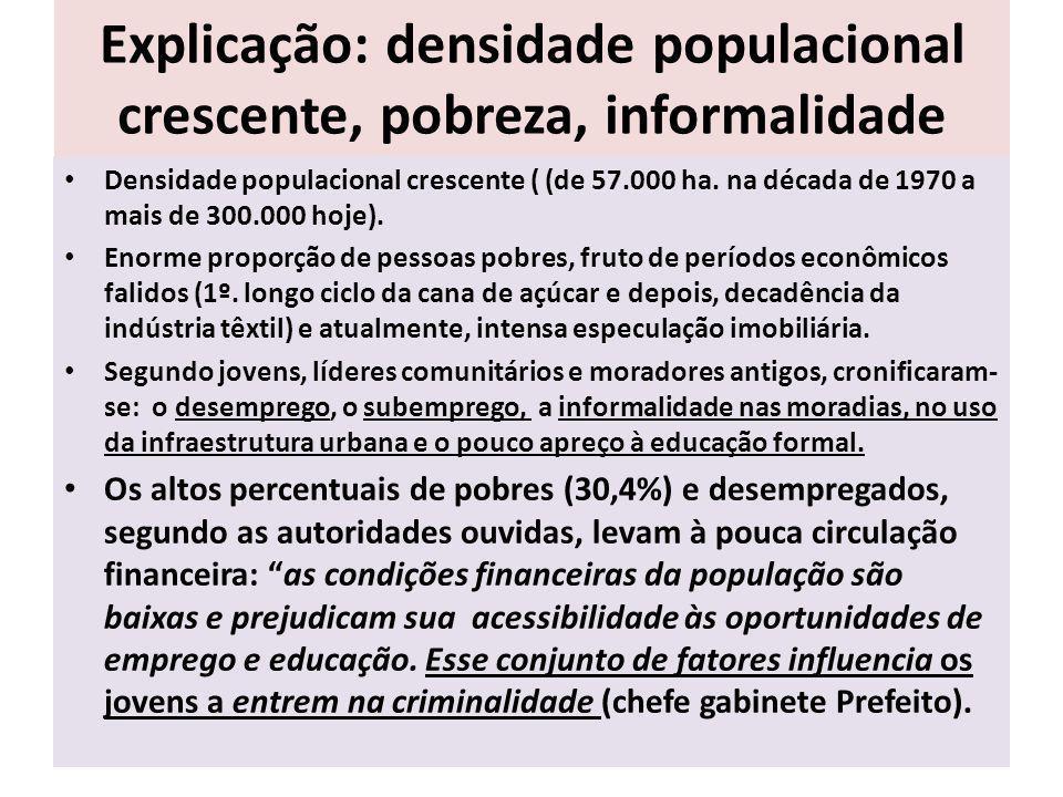 Explicação: densidade populacional crescente, pobreza, informalidade