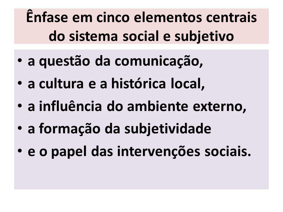 Ênfase em cinco elementos centrais do sistema social e subjetivo