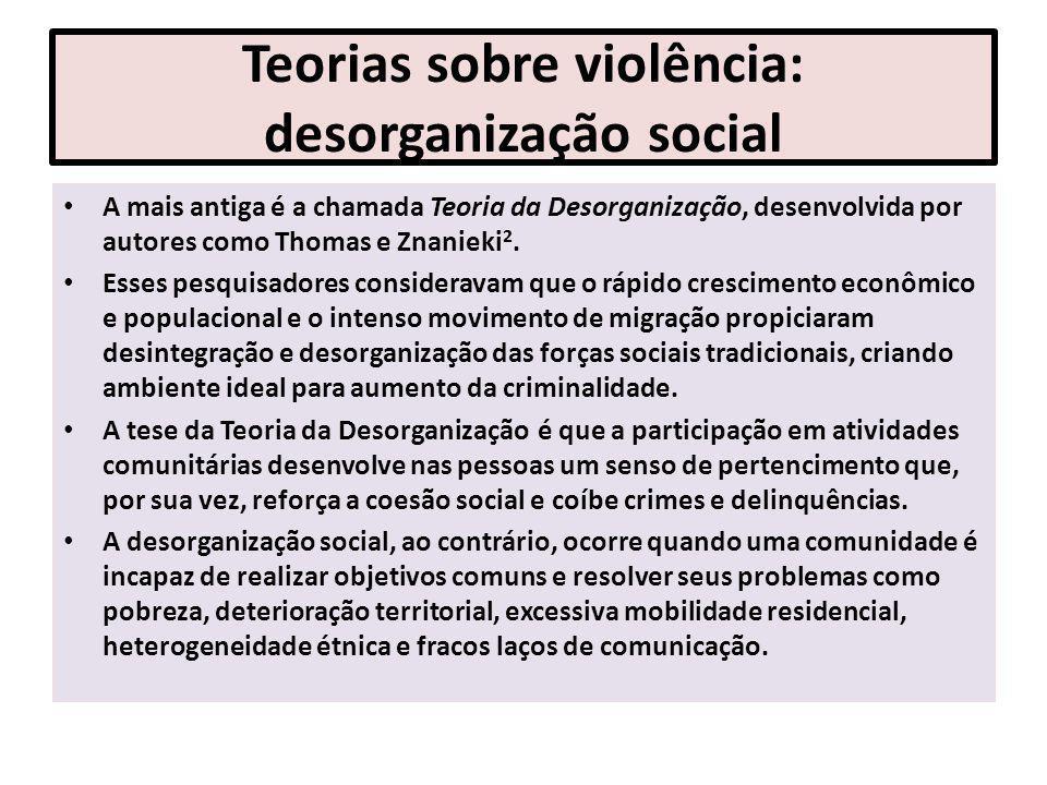 Teorias sobre violência: desorganização social