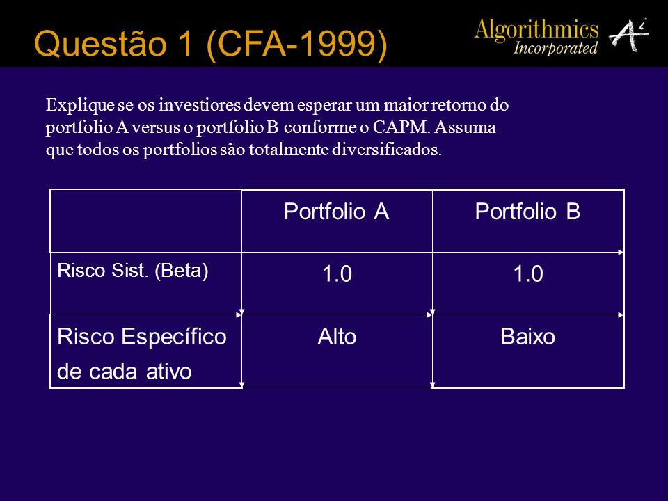 Questão 1 (CFA-1999) Portfolio A Portfolio B 1.0 1.0