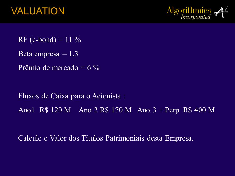 VALUATION RF (c-bond) = 11 % Beta empresa = 1.3