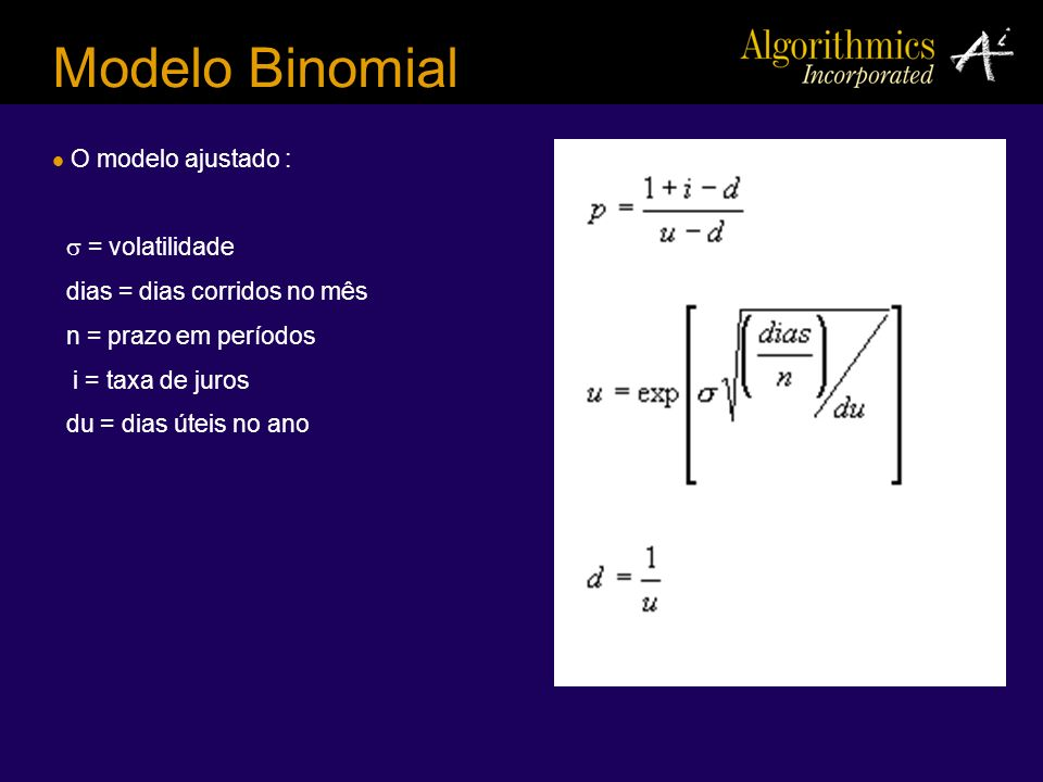 Modelo Binomial O modelo ajustado :  = volatilidade