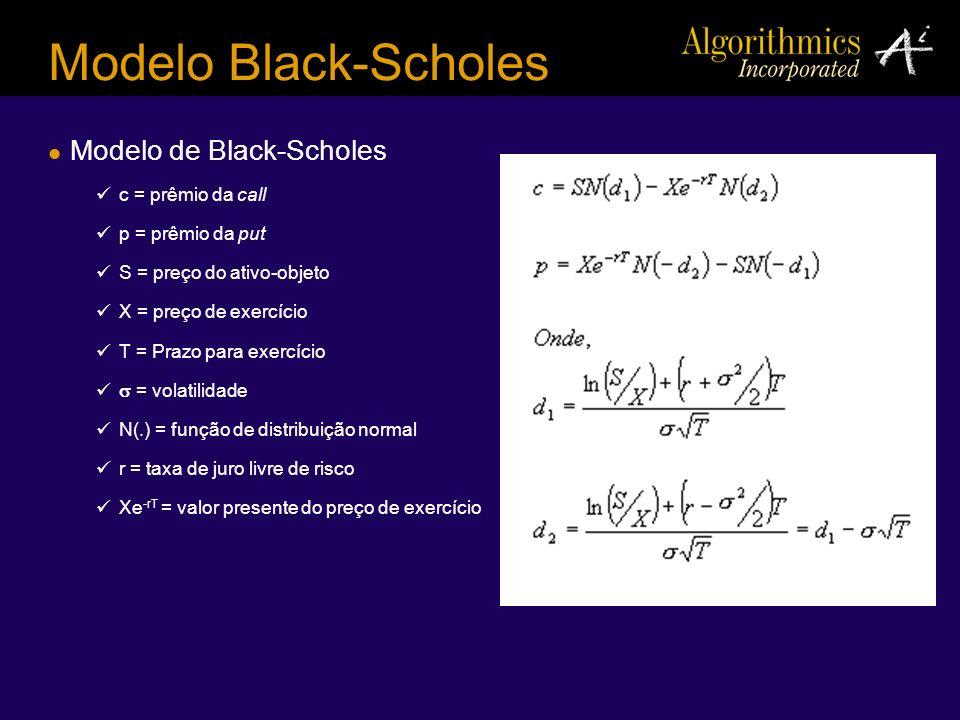 Modelo Black-Scholes Modelo de Black-Scholes c = prêmio da call