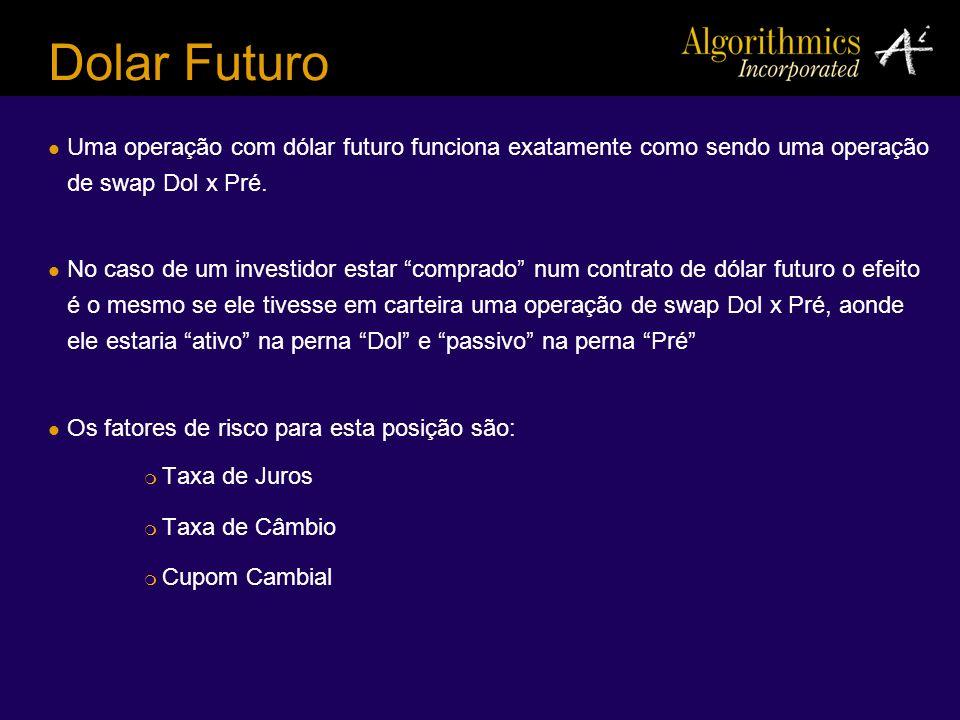 Dolar Futuro Uma operação com dólar futuro funciona exatamente como sendo uma operação de swap Dol x Pré.