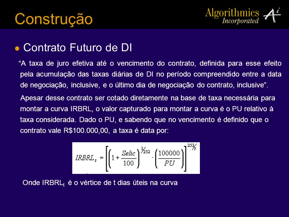 Construção Contrato Futuro de DI