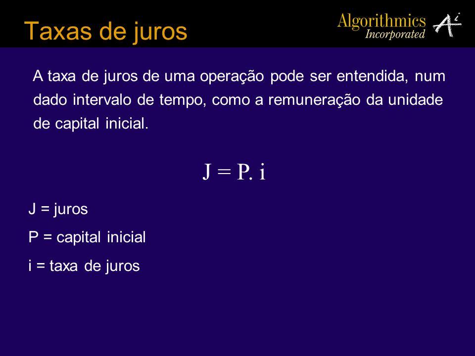 Taxas de juros A taxa de juros de uma operação pode ser entendida, num dado intervalo de tempo, como a remuneração da unidade de capital inicial.