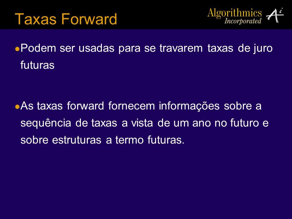 Taxas Forward Podem ser usadas para se travarem taxas de juro futuras