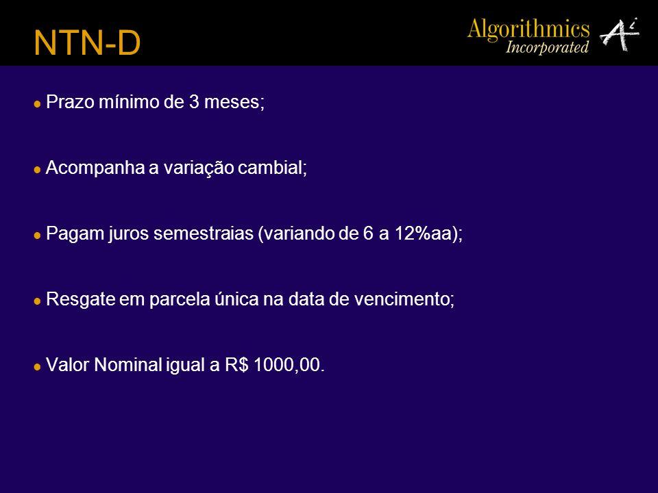 NTN-D Prazo mínimo de 3 meses; Acompanha a variação cambial;