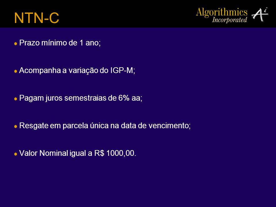 NTN-C Prazo mínimo de 1 ano; Acompanha a variação do IGP-M;