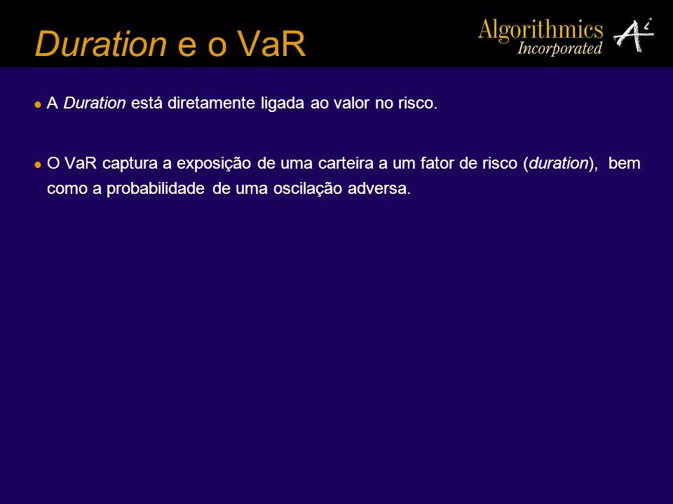 Duration e o VaR A Duration está diretamente ligada ao valor no risco.