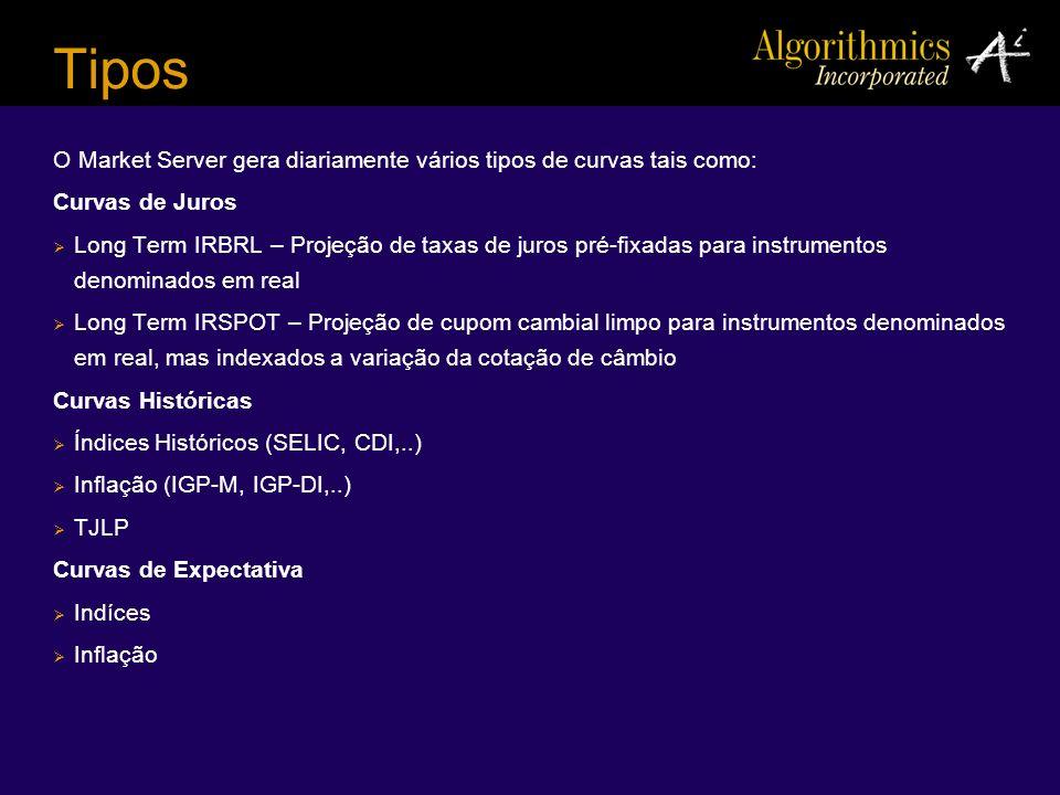 Tipos O Market Server gera diariamente vários tipos de curvas tais como: Curvas de Juros.