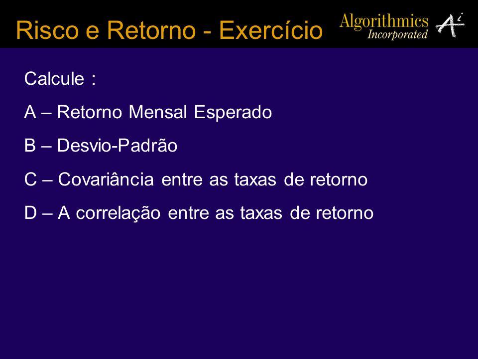 Risco e Retorno - Exercício