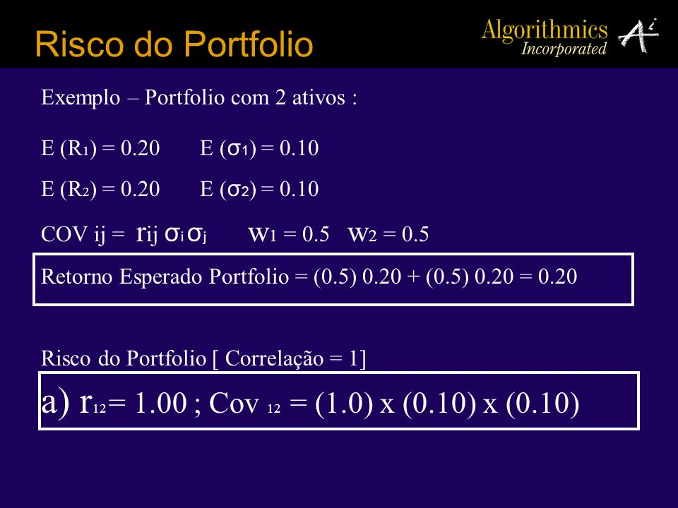 a) r12 = 1.00 ; Cov 12 = (1.0) x (0.10) x (0.10) Risco do Portfolio