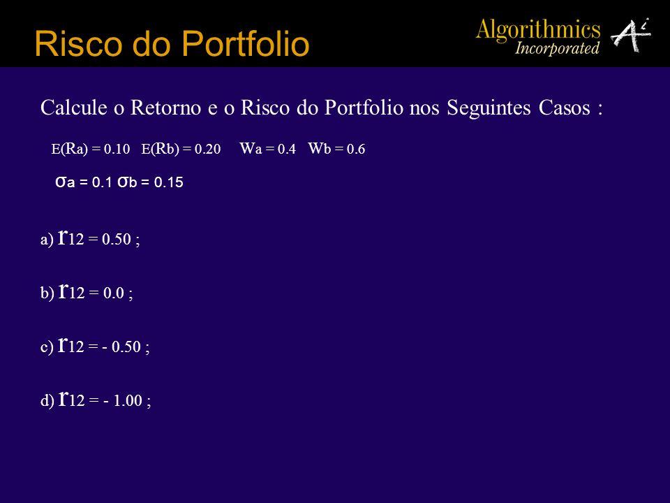 Risco do Portfolio Calcule o Retorno e o Risco do Portfolio nos Seguintes Casos : E(Ra) = 0.10 E(Rb) = 0.20 Wa = 0.4 Wb = 0.6.